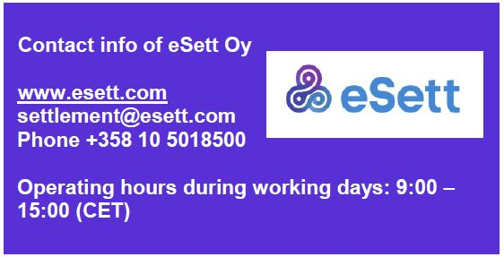 A picture showing the contact information and operating hours of eSett Oy